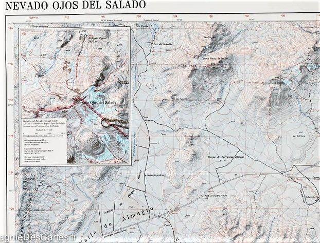 NEVADO OJOS DEL SALADO TOPO MAP: 1:100,000 & 1:35,000 Chile